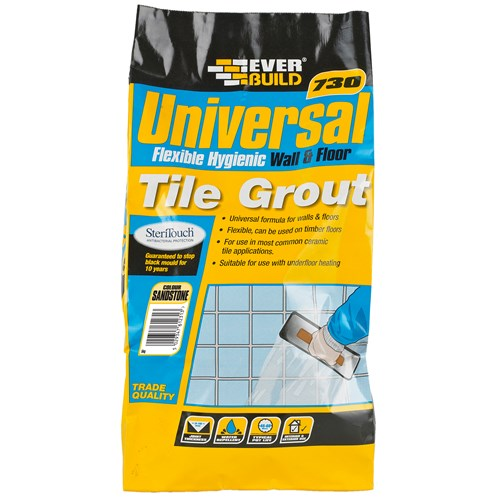 Everbuild  730 Universal Flexible Tile Grout Sandstone - 5kg
