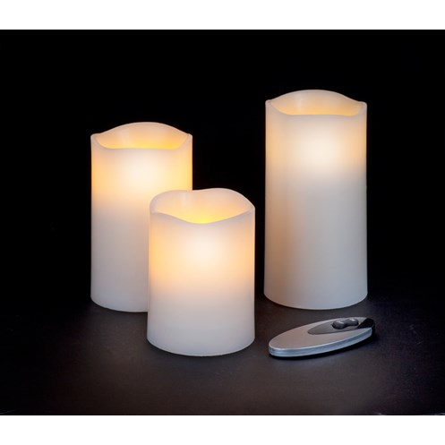 Snowtime  Candles with Remote Control - Set of 3