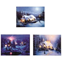 Premier Decorations  Canvas Picture - Winter Cottages
